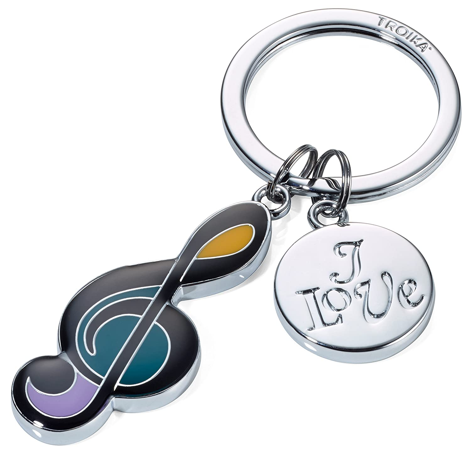 TROIKA I LOVE MUSIC – KR17-02/CH – Keyring – cast metal/enamel– shiny – chrome plated – silver – TROIKA-original