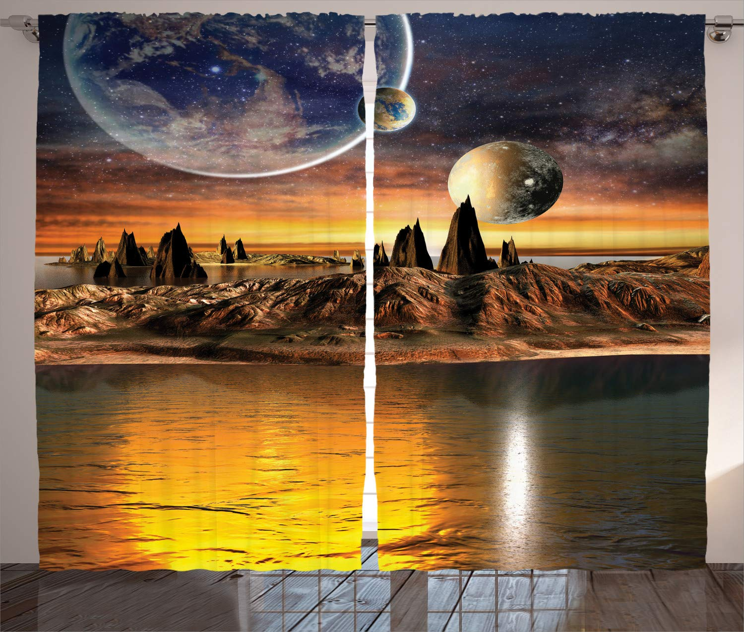 Ambesonne Fantasy House Decor Curtains Multi 2 Panel Set Alien Planet with Earth Moon and Mountain Fantasy Sci Fi Galactic Future Cosmos Art Living Room Bedroom Decor 108 W X 90 L inches