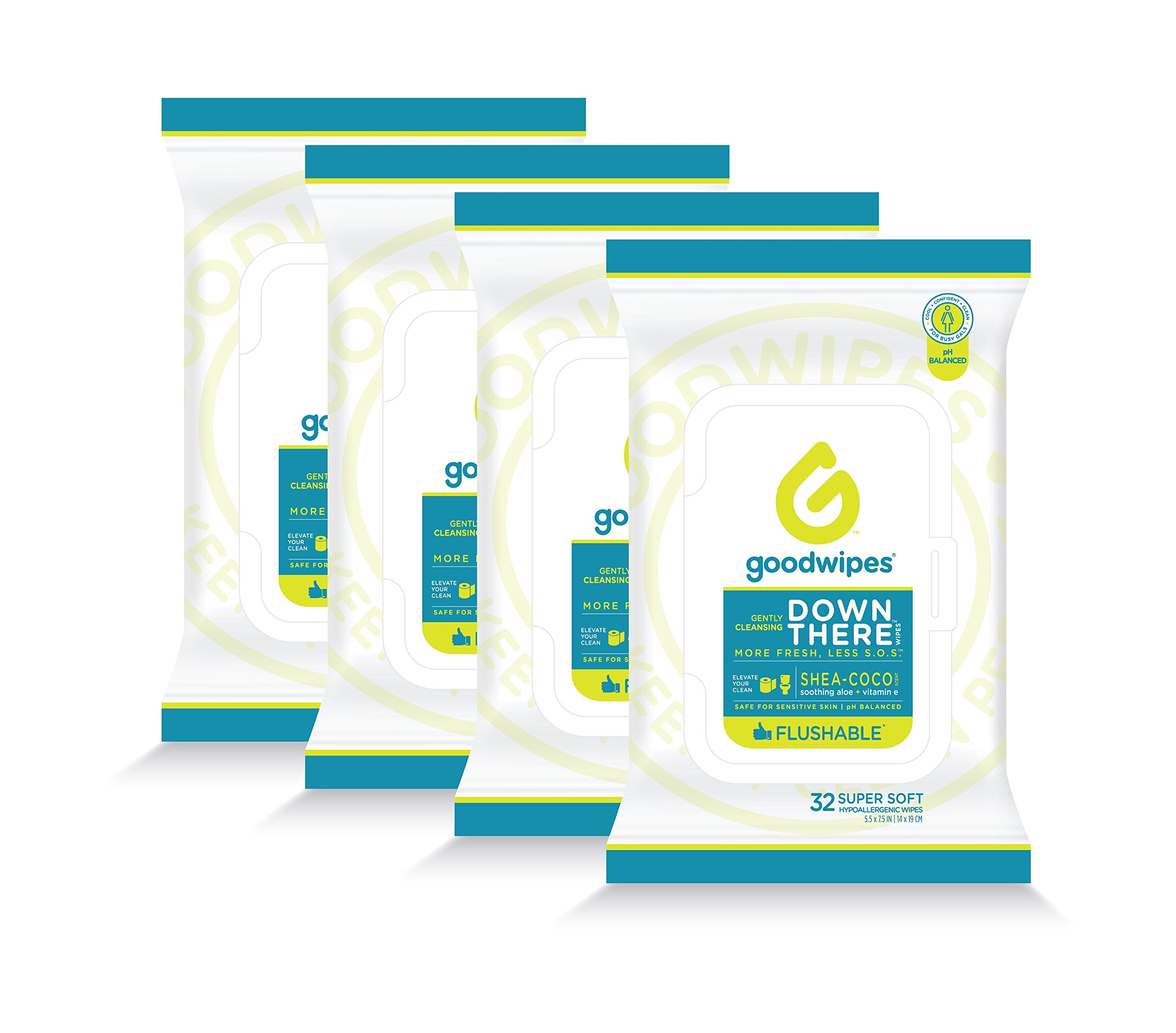 Down There Flushable Cleansing Wipes 4 Packs of 32 Wipes, 128 Total Wipes Womens Flow Pack (Shea Coco)