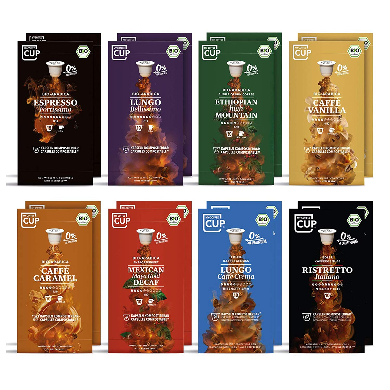 Gourmet-Kaffee-Box - 16 x 10 BIO Kaffeekapseln von My-CoffeeCup   Kompatibel mit Nespresso®-Maschinen   100% kompostierbare Kapseln ohne Alu   160 Kapseln 8 Sorten