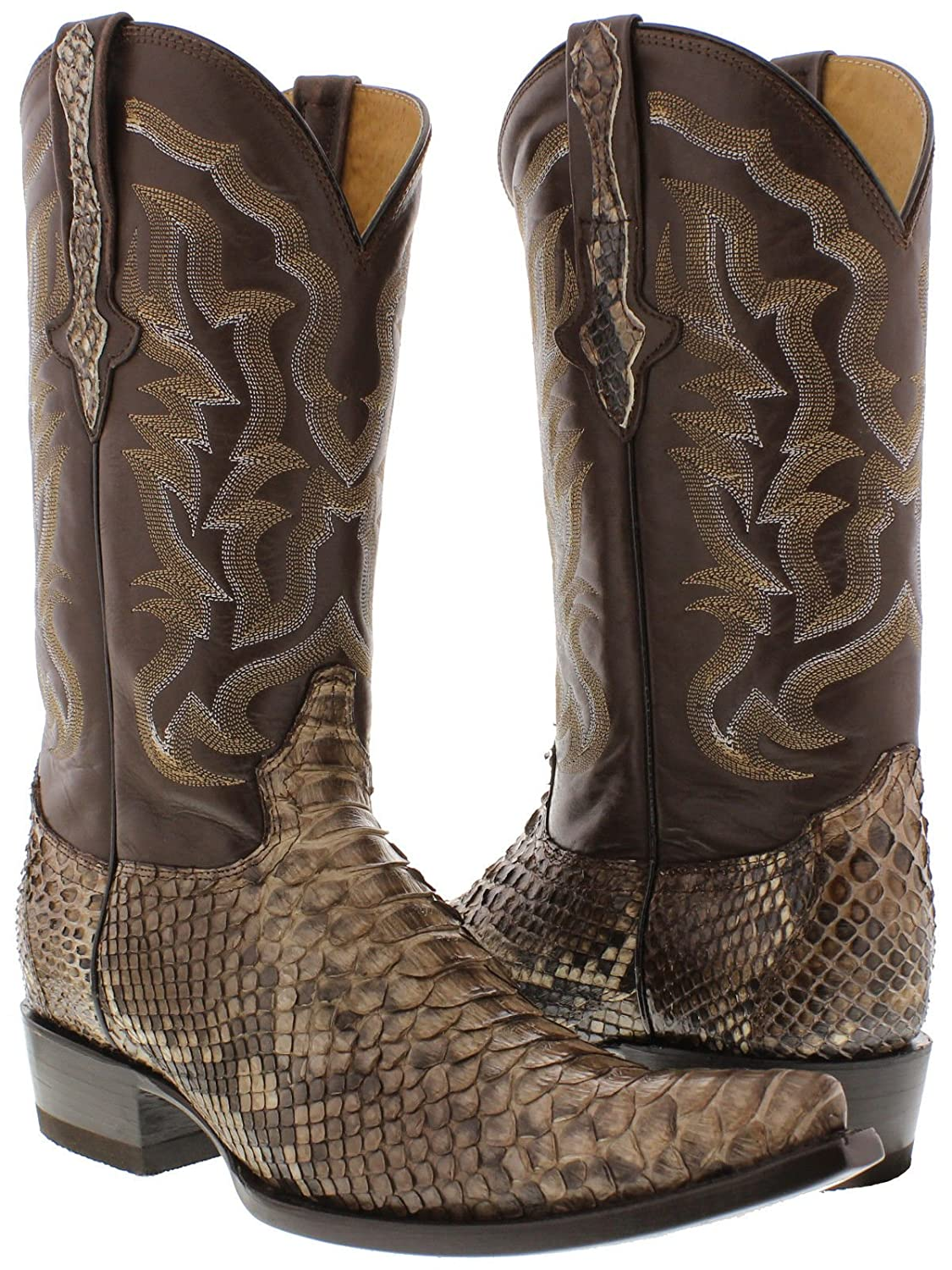 Cowboy Professional - Men's Brown Genuine Python Snake Skin Leather Cowboy Boots 3X Toe