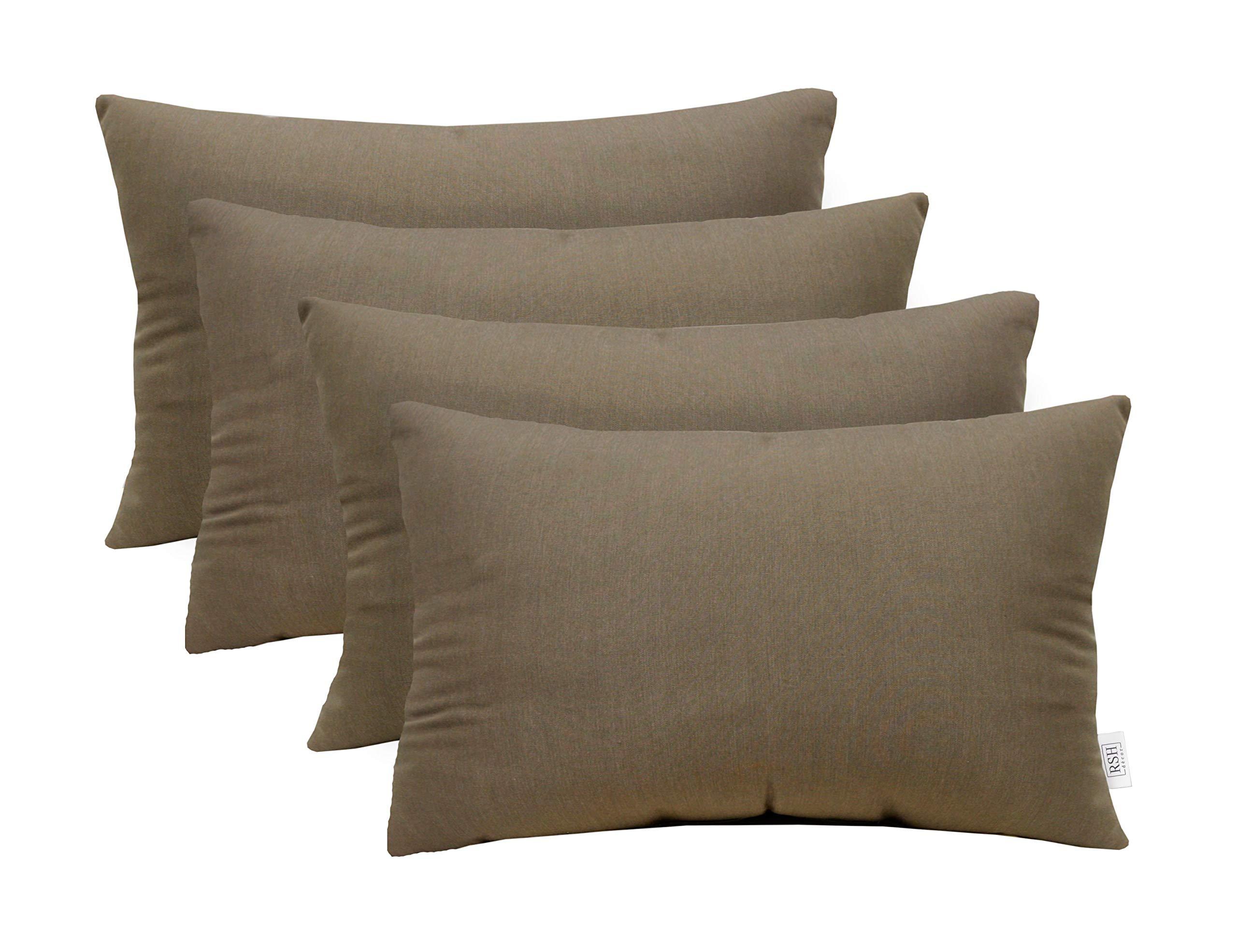 RSH Décor Set of 4 Indoor Outdoor Decorative Rectangle Lumbar Throw Pillows Sunbrella Canvas Taupe (20'' x 12'')