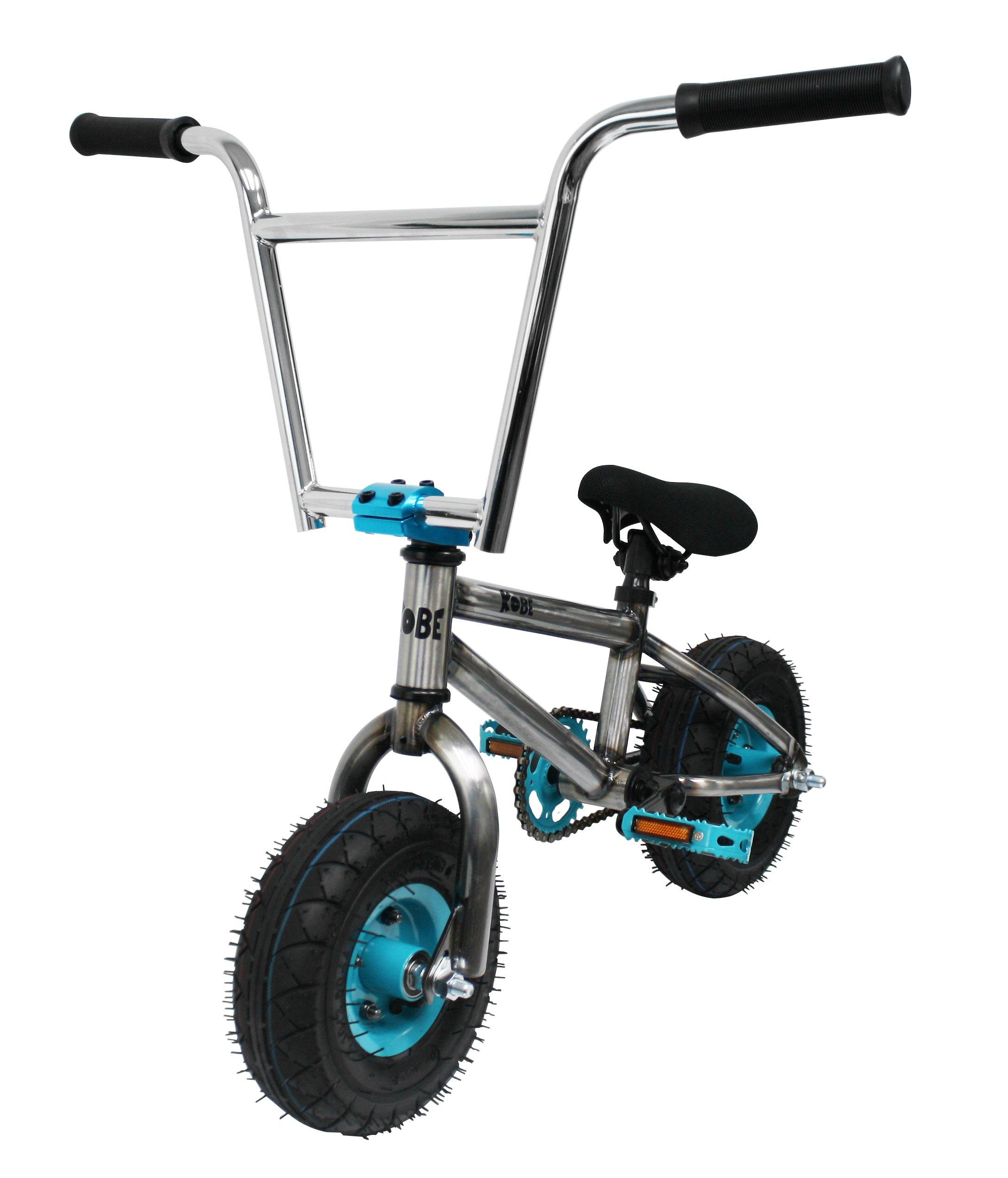 Kobe ''Rusty Rat Rod'' Mini BMX - Raw + Blue - Freestyle, Trick, Stunt Bicycle 10'' Wheels