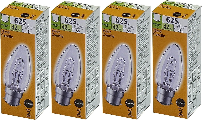 = 55 W 60 W BC B22 Ampoule halog/ène /à basse consommation Pour ampoules /à ba/ïonnette /à intensit/é variable, 625 lumens TESCO Lot de 4 bougies 42 watt