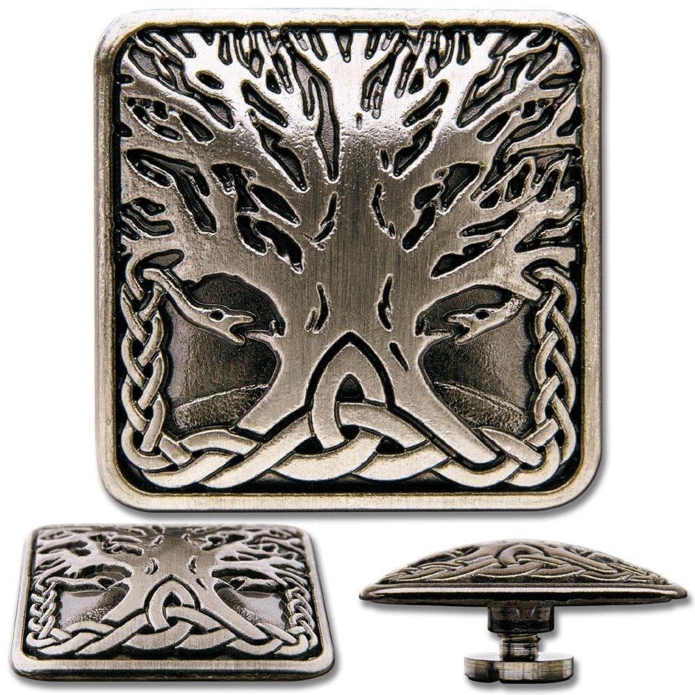 Celtic Concho Schraubzierniete Zierniete Keltischer Lebensbaum No Schraubniete 2 Screwback Concho Hoppe /& Masztalerz 3 St