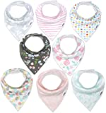 "Baby Bandana Drool Bibs for Girls, 8-Pack Organic Absorbent Drooling & Teething Bib Set by Matimati""Rosy Mint"""