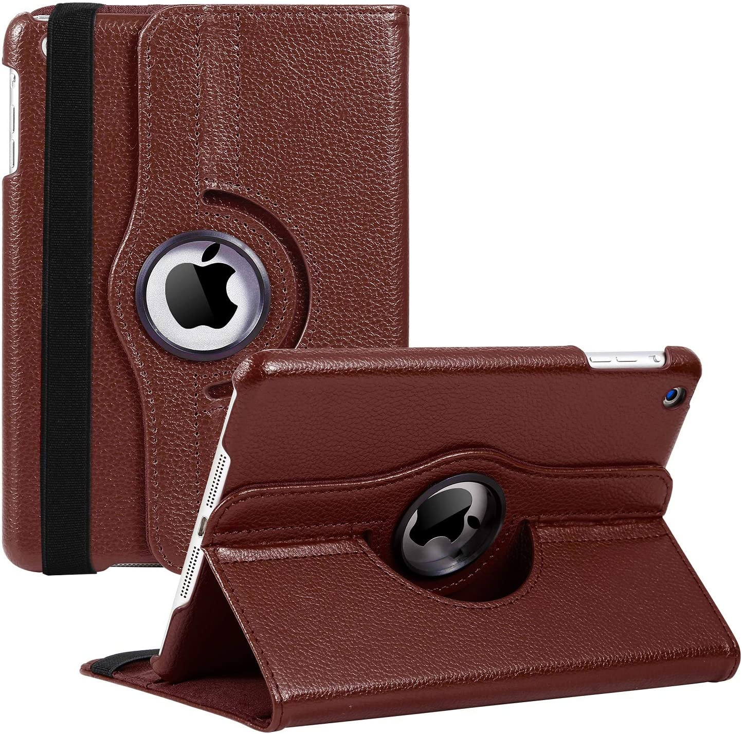 iPad Mini 1/2/3 Case - 360 Degree Rotating Stand Smart Cover Case with Auto Sleep/Wake Feature for Apple iPad Mini 1 / iPad Mini 2 / iPad Mini 3 (Brown) …