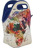 "Neoprene Lunch Bag by ART OF LUNCH - Large [12"" x 12"" x 6.5""] Gourmet Insulating Lunch Tote - All Proceeds Go to Support the World Summit - Design by Mark Ashkenazi (Israel) - World Map"