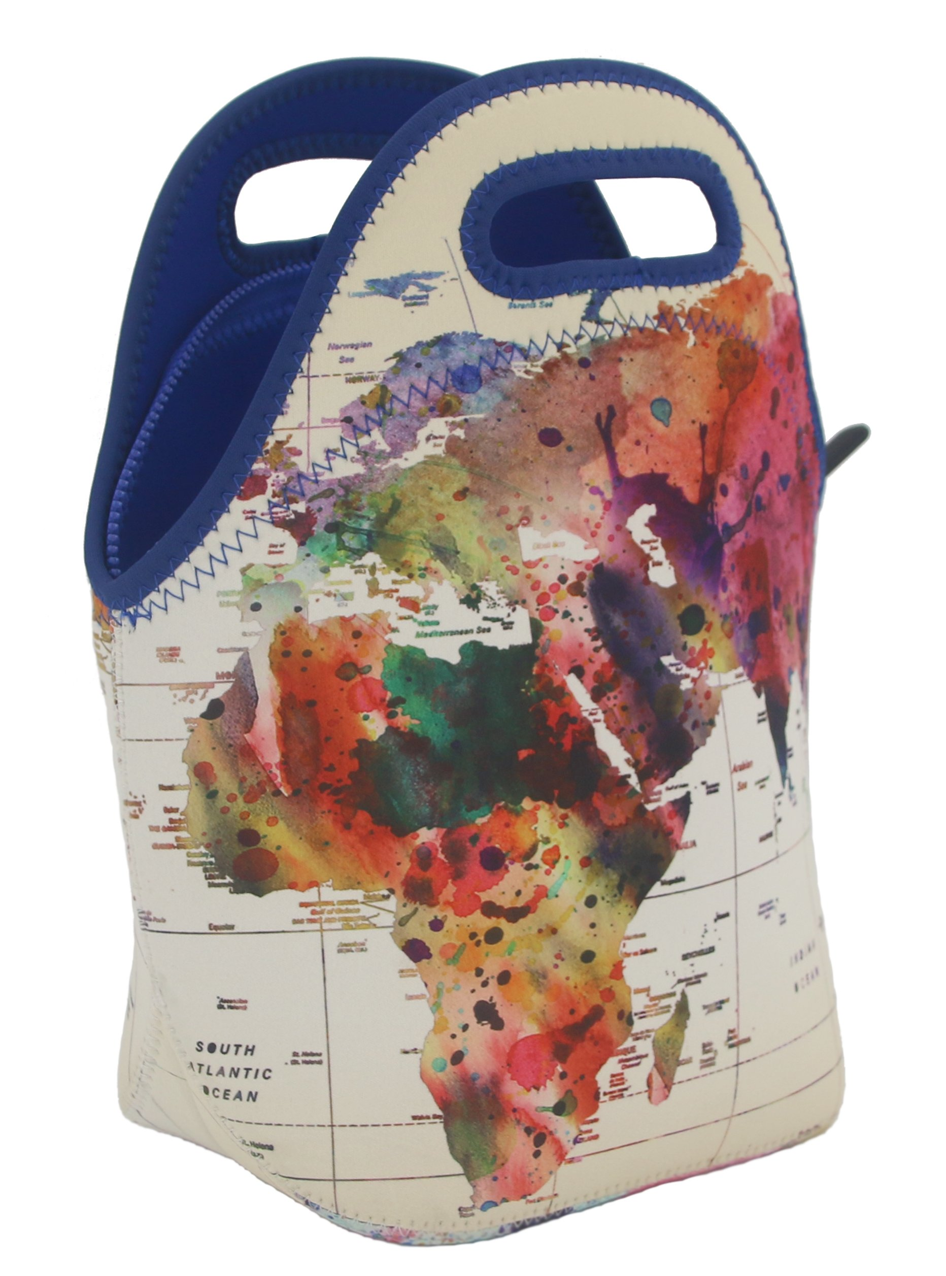 ART OF LUNCH Insulated Neoprene Lunch Bag for Women, Men and Kids - Reusable Soft Lunch Tote for Work and School - All Proceeds Support the World Summit - Design by Mark Ashkenazi (Israel) - World Map