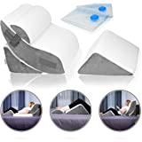 Lunix LX5 4pcs Orthopedic Bed Wedge Pillow Set, Post Surgery Memory Foam for Back, Neck and Leg Pain Relief. Sitting Pillow,