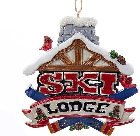 Amazon Com Kurt Adler 3 125 Painted Resin Ski Lodge Sign Hanging Ornament Home Kitchen