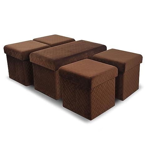 Astonishing Amazon Com Velvet Fabric Tray Top Nested Storage Ottoman Alphanode Cool Chair Designs And Ideas Alphanodeonline