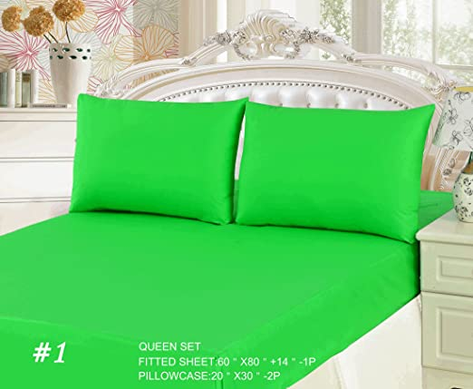 Amazon Com Tache 3 Piece 100 Cotton Solid Lime Green Fitted Bed