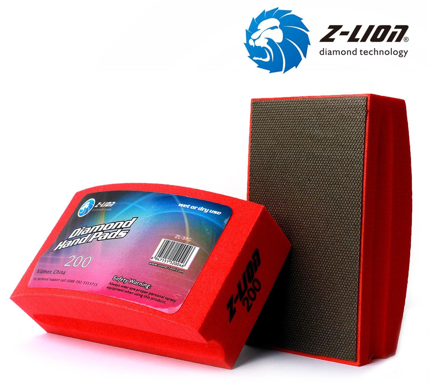 schwarz Z-lion galvanisierte Diamant-Polier-Handpads Bogenform R/ückseite f/ür Stein Glas Beton Granit Marmor Set von 4 St/ück
