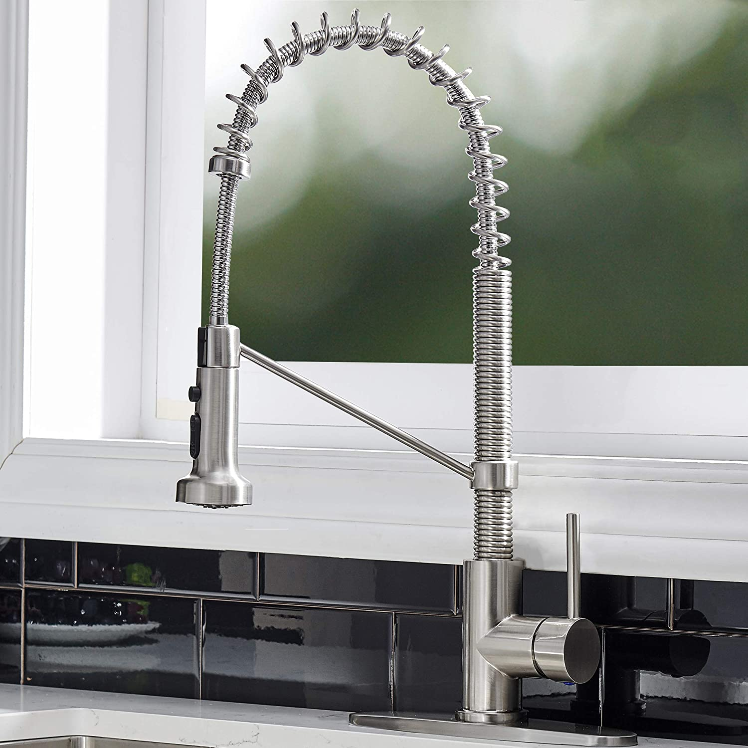 Ufaucet Modern Commercial Lead Free Stainless Steel Single Handle Pull Down Sprayer Spring Kitchen Faucet, Brushed Nickel Kitchen Sink Faucets with Deck Plate
