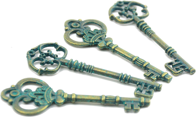 Makhry Mixed Set of 20pcs 3.1-3.3 inches Extra Large Key Vintage Key Skeleton Keys in Bulk for DIY Pendant Antique Gold
