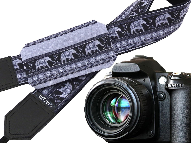 Elephantカメラストラップwithレンズポケット。グレー。ブラック。クリスマスギフト。Photographerギフト。カメラaccessories.コード00320 B01N1FRDJH
