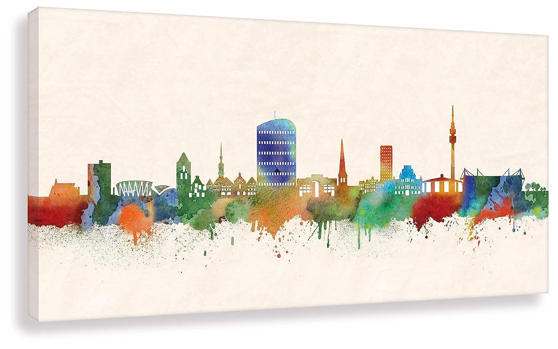 Kunstbruder Dortmund Druck auf leinwand Stencil Graffiti - Bild Dortmund Skyline Paul London  Bild fertig auf Keilrahmen Kunstdrucke, Wandbilder, Bilder zur Dekoratio (50x100 cm)