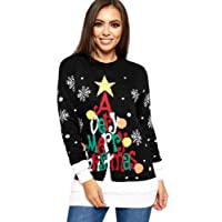WearAll Women's Knitted Merry Christmas Long Sleeve Xmas Tree Ladies Pom Jumper 8-24
