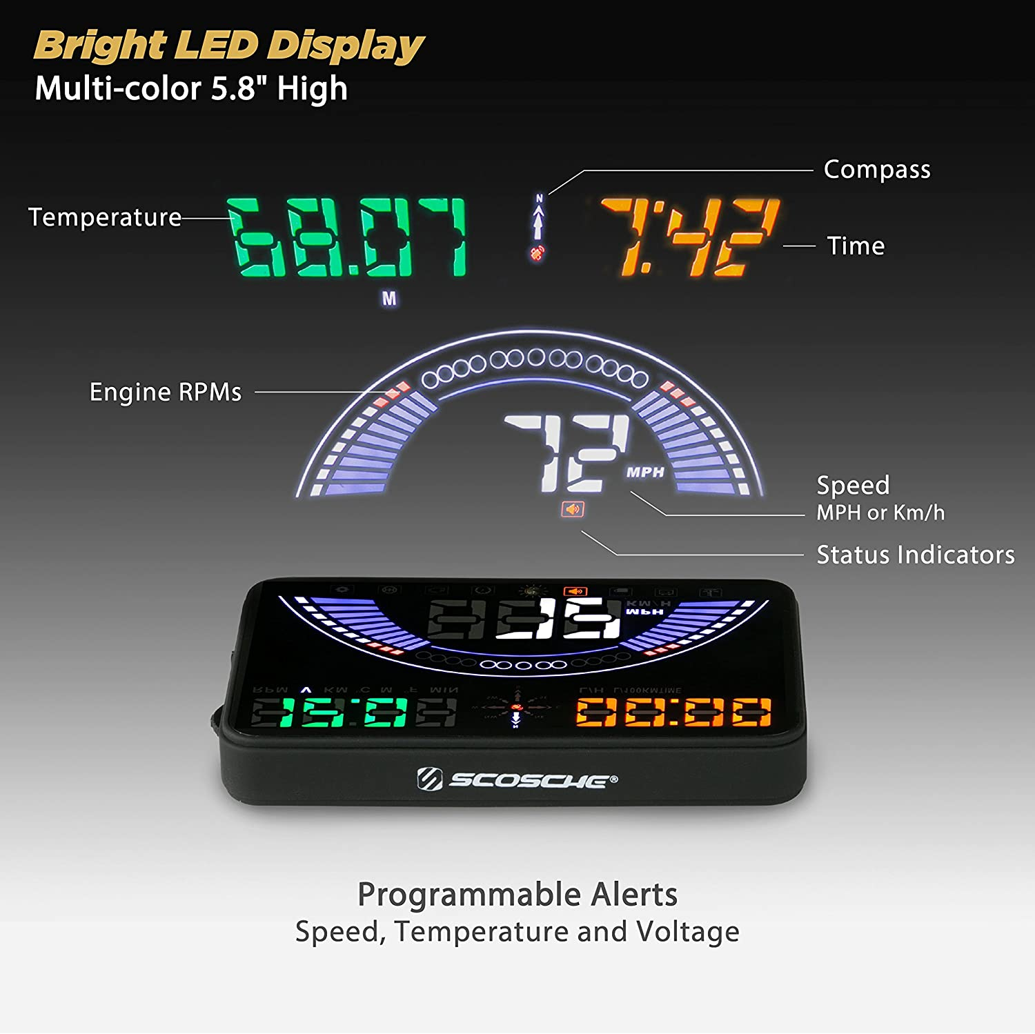 """SCOSCHE HUD58OGC 5.8/"""" Heads-up Multi-Color LED Display for Any Vehicle with an OBD-II or 12V Power Socket"""