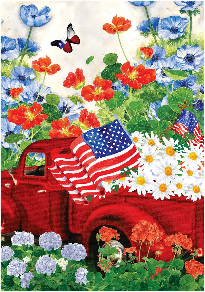 Texupday Patriotic Red Truck Celebrate The USA Double Sided America Floral Daisy Garden Flag Outdoor Yard Flag 12