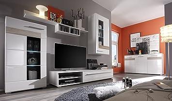 Elegant Trendteam Smart Living Wohnwand Mit Sideboard Weiss Hochglanz/Eiche Sägerau  Hell