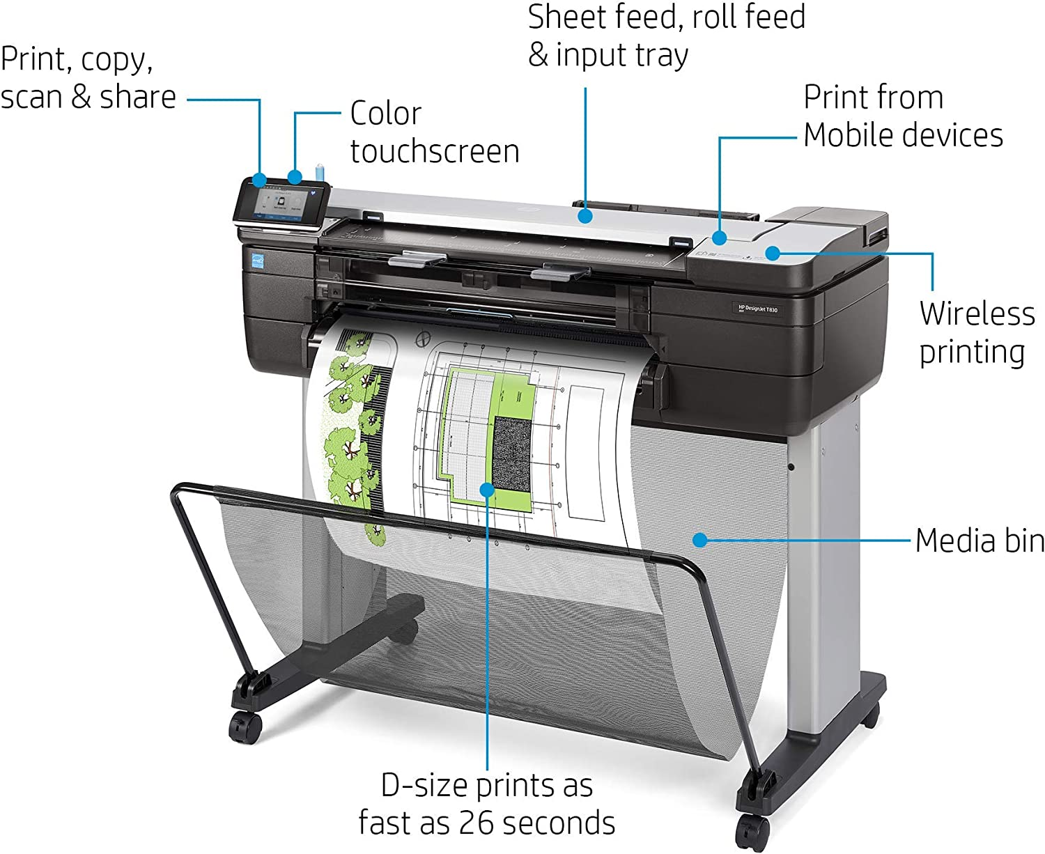"HP DesignJet T830 Large Format Multifunction Wireless Plotter Printer - 24"", with Mobile Printing (F9A28A)"