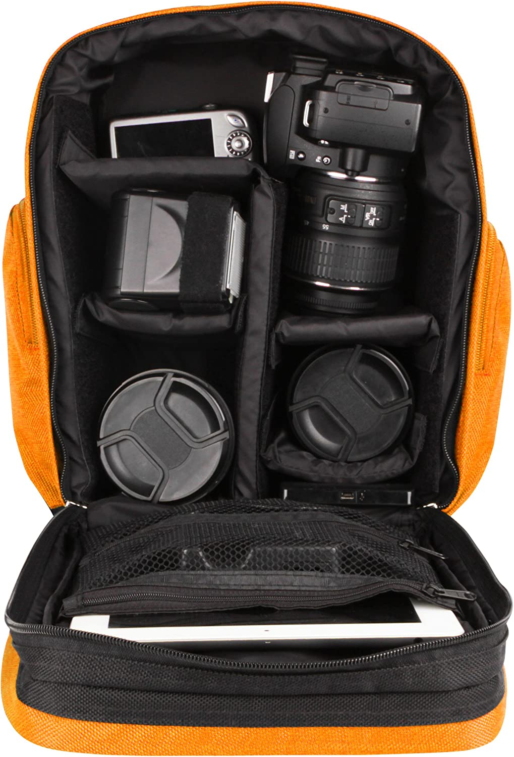 645D Digital SLR Cameras and Mini Tripod and Screen Protector Vangoddy Sparta Travel Backpack for Pentax 645Z Black and Orange
