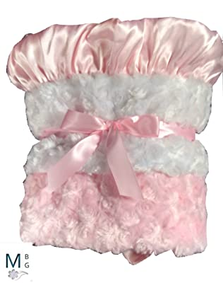 MinkyBabyGifts Personalized Minky Baby Blanket Pink and White Rosebud Swirl