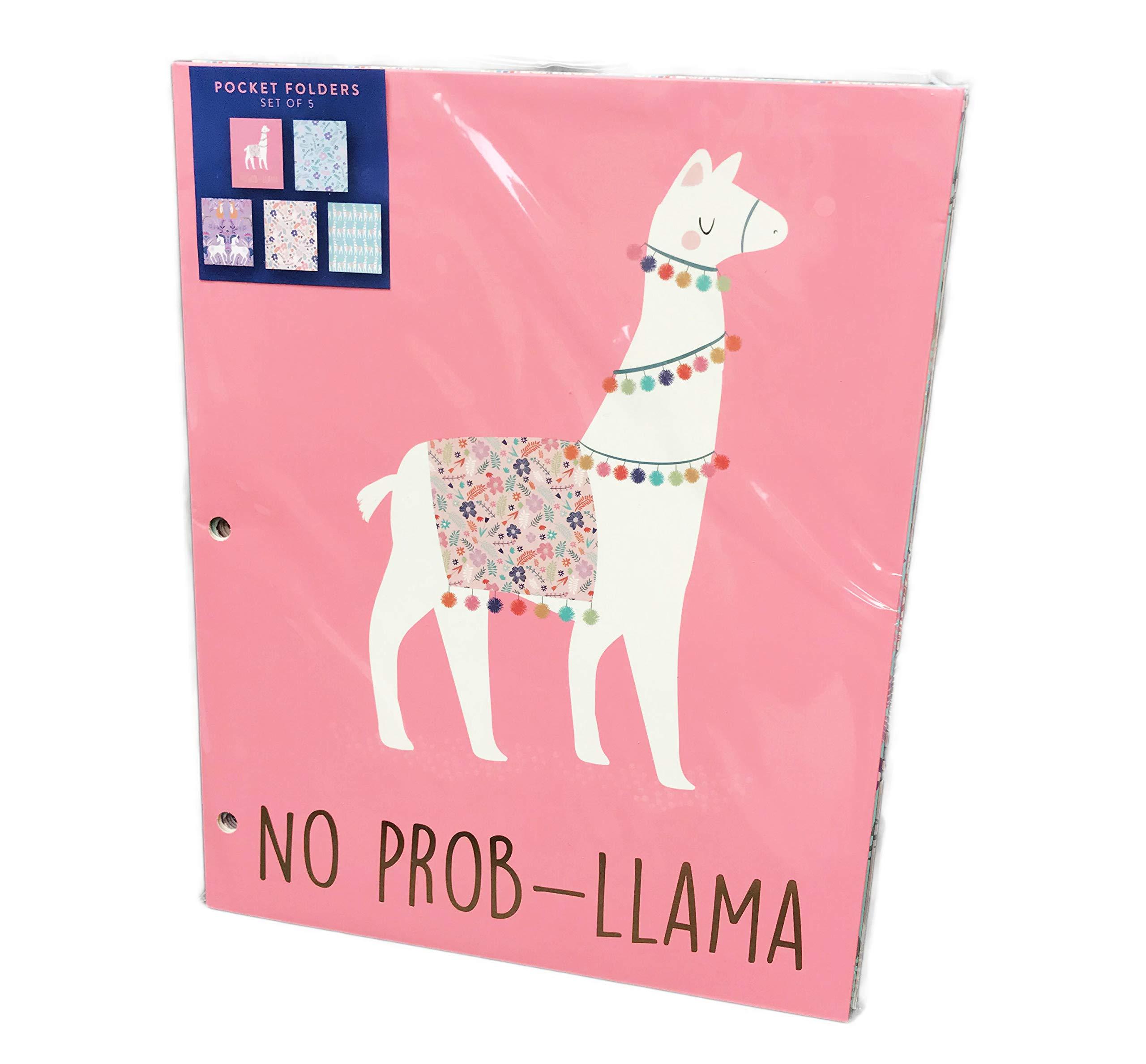 Set of 5 Colorful Llama, Floral & Unicorn Themed Novelty School Pocket Folders
