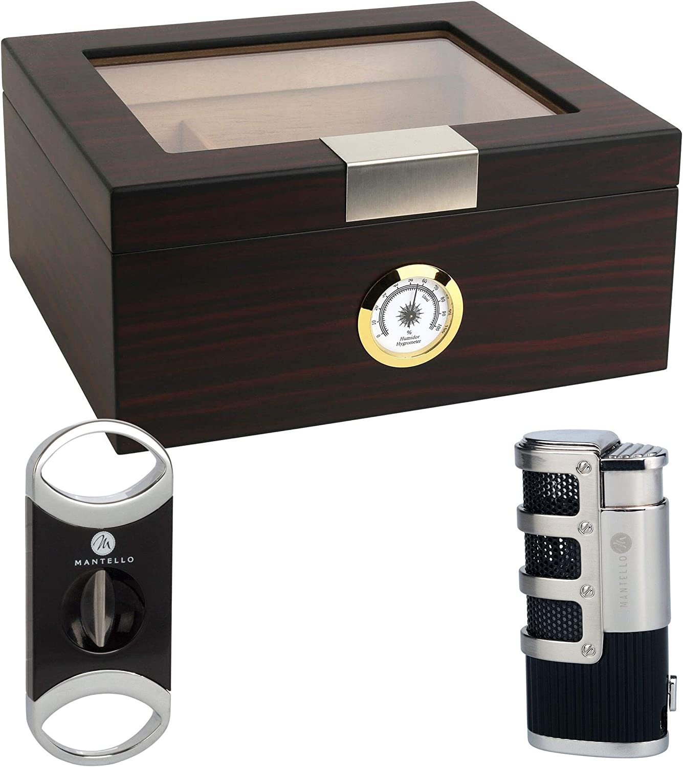 Mantello Ebony Glass -Top Cigar Humidor Humidifier Box - Holds (25-50 Cigars) Bundle Gift Set with V-Cut Cigar Cutter and Catador Triple Jet Torch Lighter (3 Items)