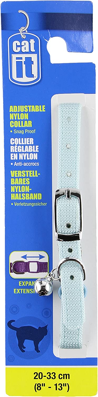 Blue Catit Nylon Expand Adjustable Cat Collar with Buckle