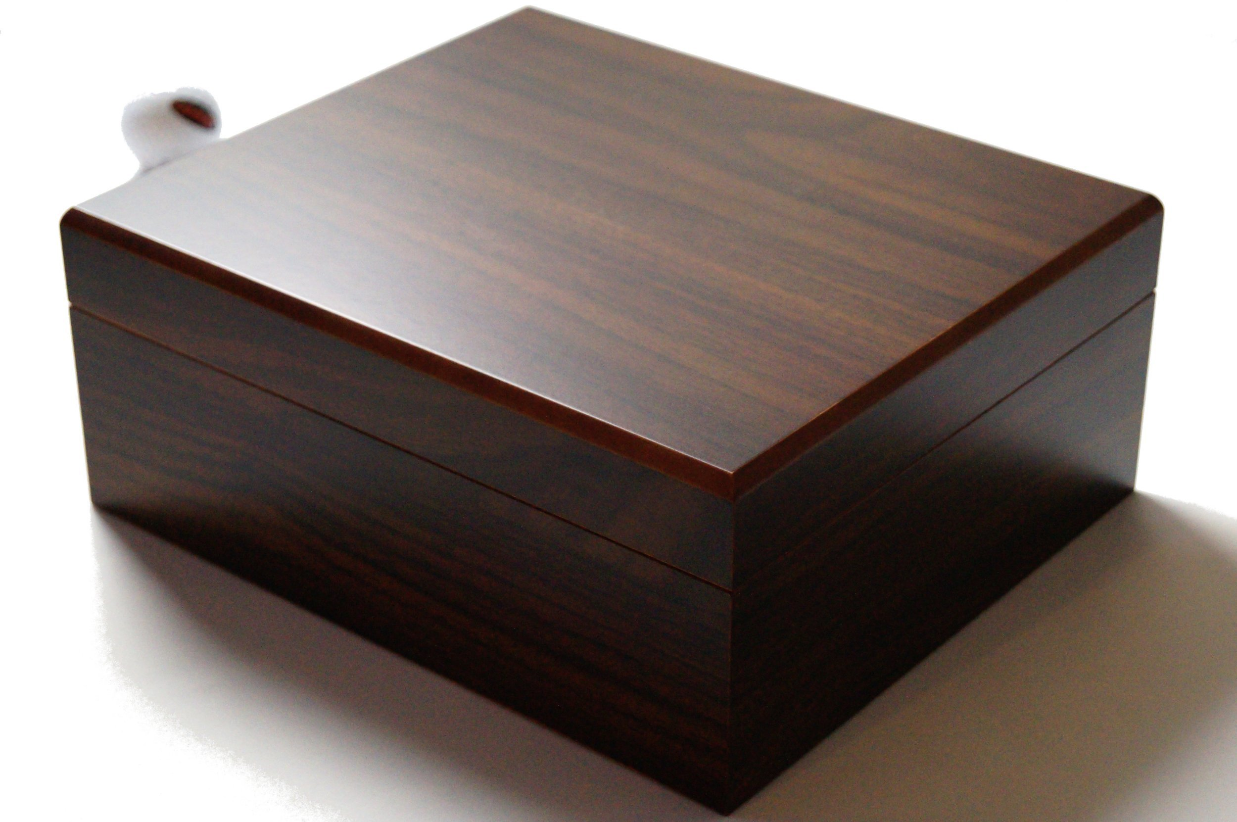 GERMANUS Cigar Humidor for approx. 50 Cigars, Brown, with Hygrometer and Humidifier Manual