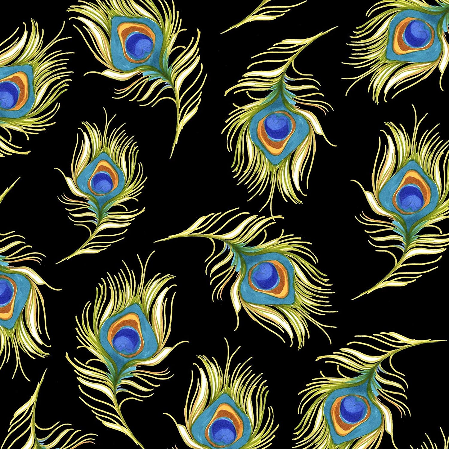 Pretty Peacock Black Fabric Yard