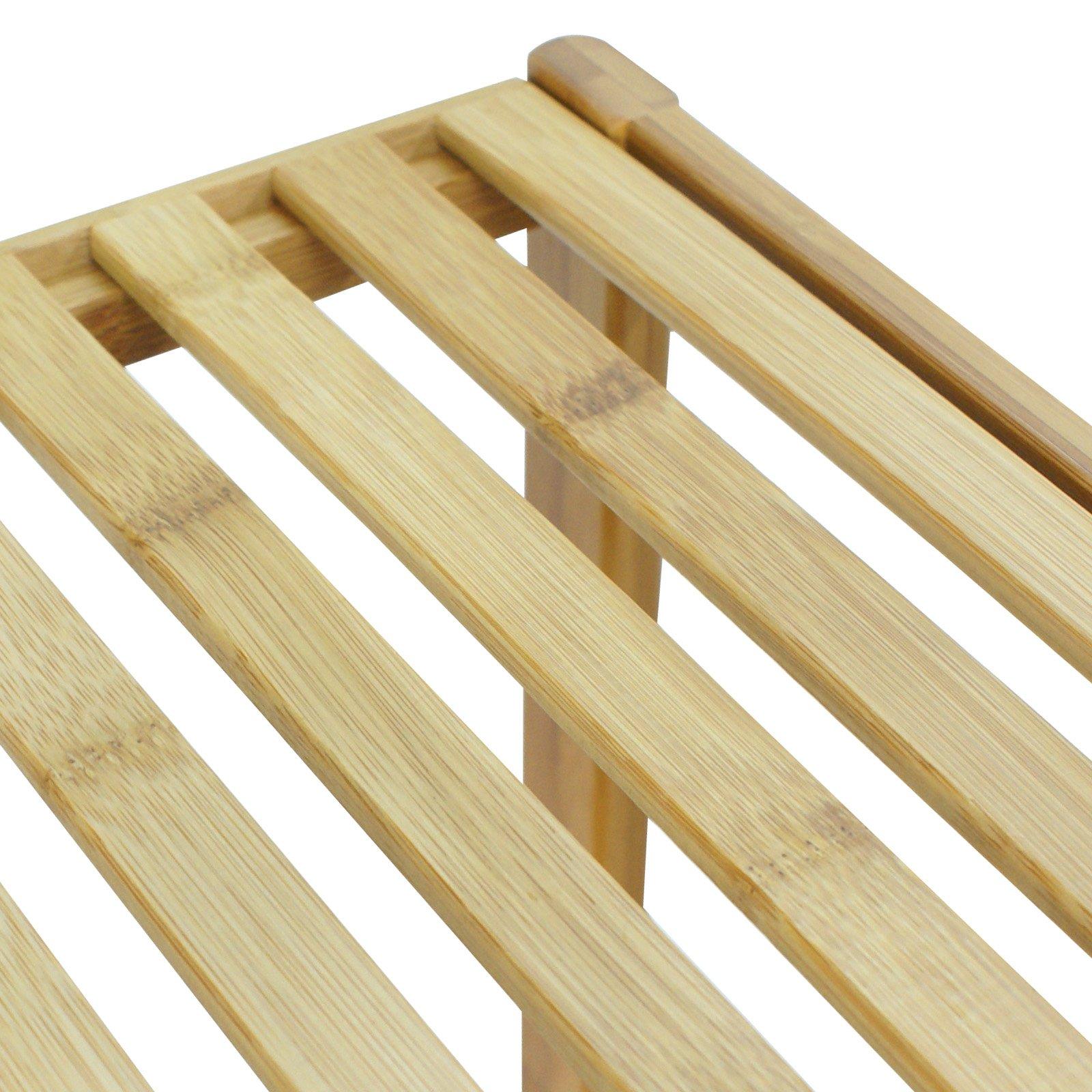 Smartxchoices 5 Tier 100% Bamboo Bathroom Organizer Standing Shelf Towel  Rack Free Standing Shelves Units Wood Storage Rack Corner Bookshelf Plant
