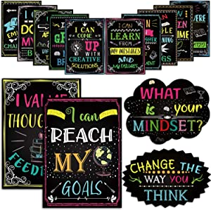 14 Motivational Posters What is Your Mindset Bulletin Board Decoration, Inspirational Sign Positive Wall Art I Can for Classroom Office Teachers Students School Counselors Home Chalkboard