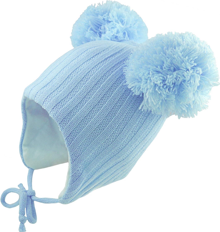 Baby Babies Bobble Hat Pom Pom Pink White Blue Boys Girls 0-3 3-6 6-12 12-18 Mth