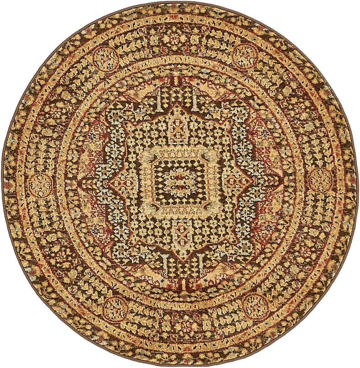 Unique Loom Palace Collection Traditoinal Geometric Classic Brown Round Rug 3 3 x 3 3