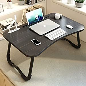 MGsten Laptop Desk, Portable Lap Desk with Beverage Holder, Foldable Computer Desk with USB Ports, Multifunction Ergonomic Standing Lap Table Tray in Couch/Floor/Office/Hospital(Mini Lamp & Fan)