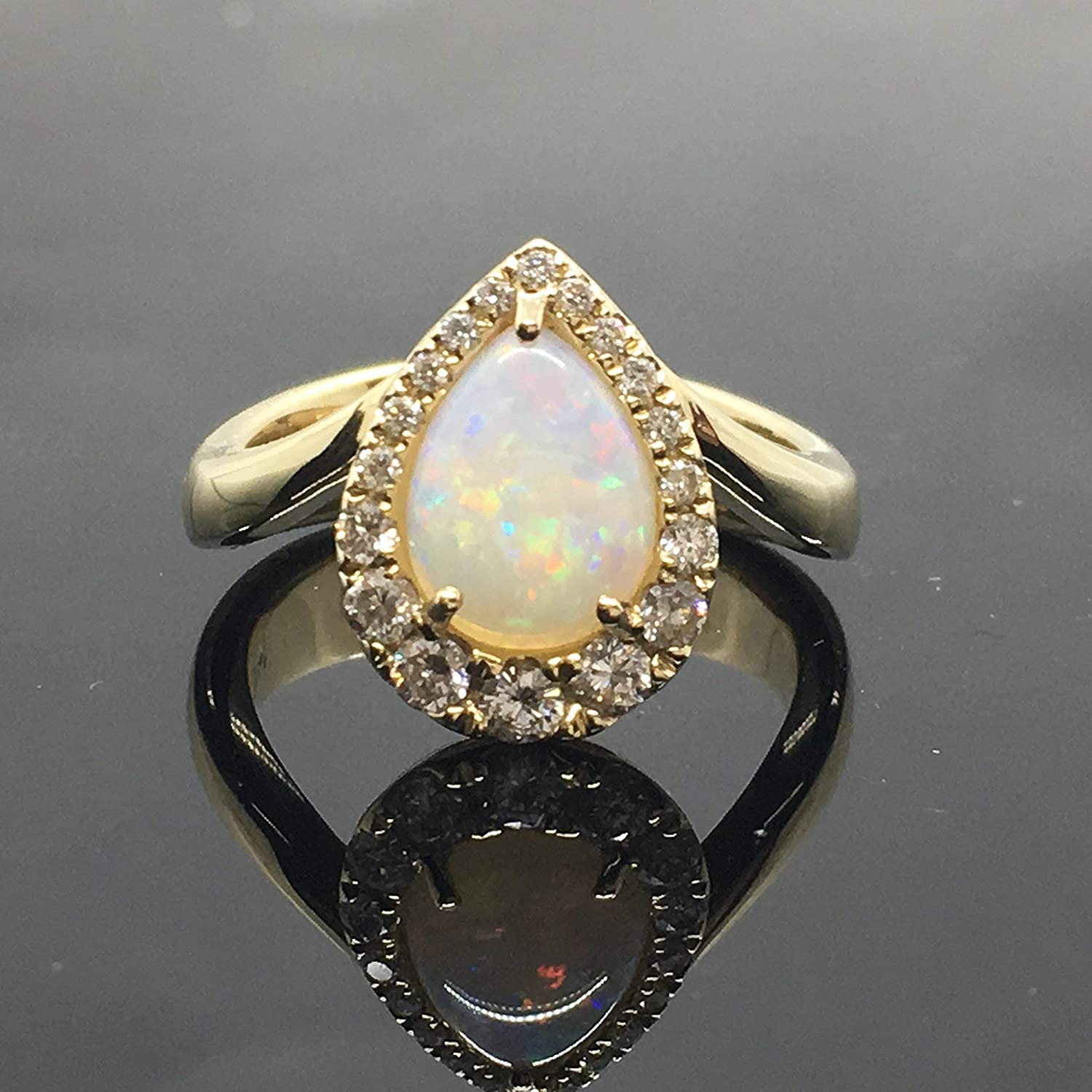 Amazon Com Pear Shape Australian Opal And Diamond Engagement Ring Solid 14k Yellow Gold Pear Shaped Diamond Halo Opal Engagement Ring 14k White Opal Promise Ring Handmade