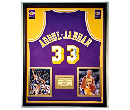 d95e4a234 Image Unavailable. Image not available for. Color  Premium Framed Kareem  Abdul-Jabbar Autographed Signed Los Angeles Lakers Adidas Jersey ...