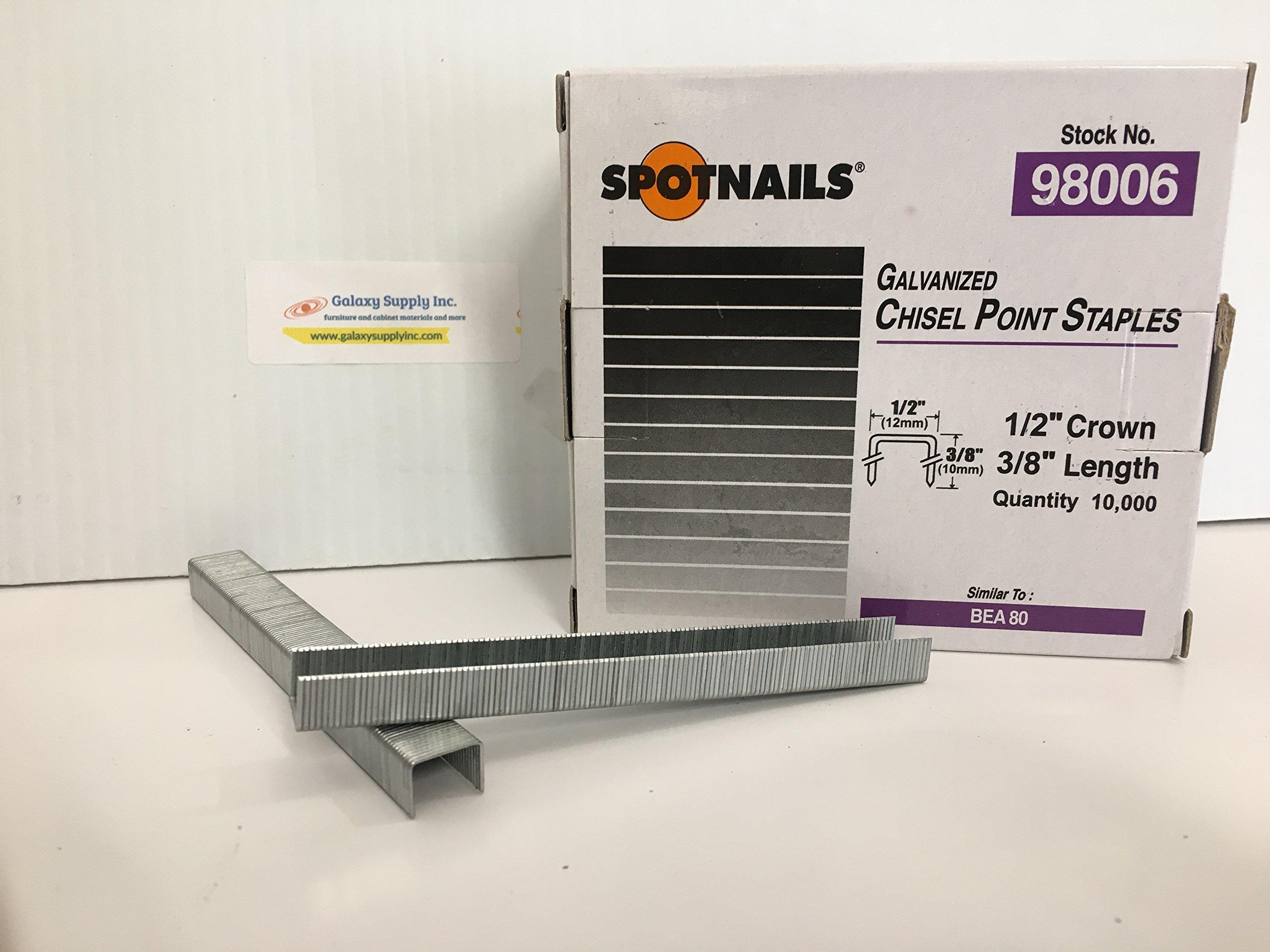 Spotnails 98006 Similar BeA 80 Series 1/2'' Crown Staples 3/8'' Leg,Sale by 7 Boxes/ctn
