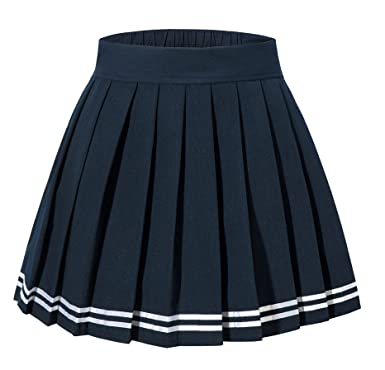 6fbea6391b Tremour Women's High Waist Juniors Tab Scooter Sport Mini Pleated Skirt(S,Dark  Blue