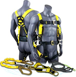 KwikSafety (Charlotte, NC) Hurricane KIT | 3D Full Body Back Support Safety Harness 6' Lanyard 3'' Anchor ANSI OSHA PPE Fall Protection Arrest Restraint Equipment Universal Construction Roofer Bucket