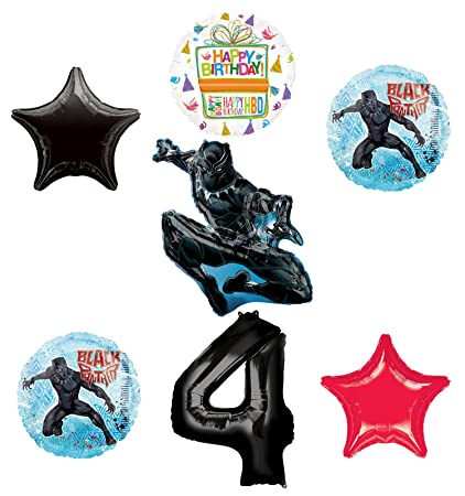 Amazon Black Panther 4th Birthday Balloon Bouquet Decorations