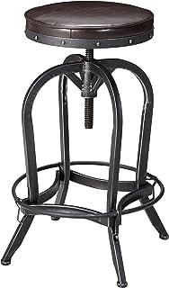 Dempsey | Rustic Industrial | Distressed Metal | Swivel Adjustable | Bar  Stool (Brown Bonded