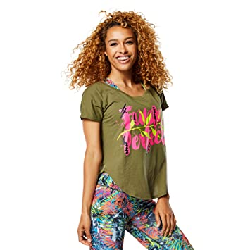 Zumba Fitness® Funk Perfect Tulip Top - Camiseta para Mujer, Color Verde, Talla