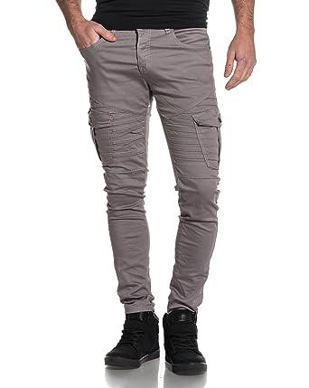 8f629472e621 BLZ Jeans - Jean Gris Slim Poches Cargo nervuré - Couleur  Gris - Taille