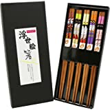 Exzact EX-CS05 Chopsticks Gift Set – 5 Pairs of Reusable Natural Bamboo Chopsticks in a Beautiful Black Handmade Box – Decorated Japanese Style