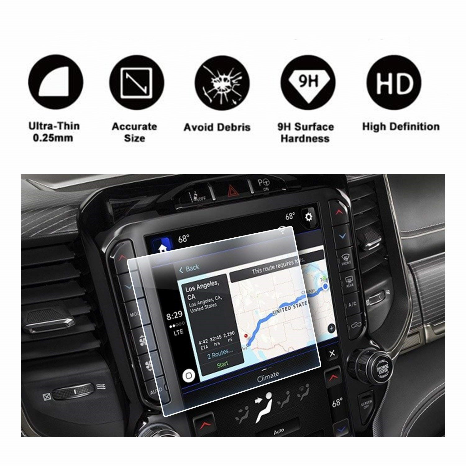 2019 Dodge Ram 1500 Uconnect Touchscreen Car Display Navigation Screen Protector, HD Clear TEMPERED GLASS Protective Film Against Scratch High Clarity (8.4 Inch)